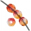 Fire polished 4mm Crystal/orange/fuchsia Two-tone Aurora Borealis